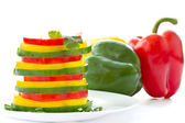 Strips of peppers of different colors — Stock Photo