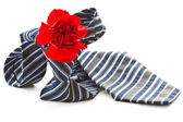 Men's tie with a red carnation — Stock Photo