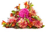 Bouquet of red carnations and chrysanthemums — Stock Photo