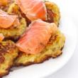 Fried potato pancakes with salted salmon — Stock Photo #9381689