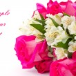 Stockfoto: Red roses and white Alstroemeria