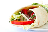 Pita bread stuffed with vegetables — Stock Photo