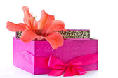 Gift box and a red flower — Stock Photo