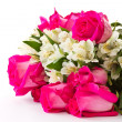Red roses and white Alstroemeria — Stock Photo