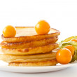 Stock Photo: Pancakes with berries physalis
