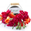 Stock Photo: Bright bouquet of carnations in bucket