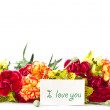 Stock Photo: Alstroemeriflowers with declaration of love