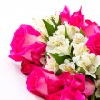 Stock Photo: Red roses and white Alstroemeria