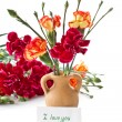 Stock Photo: Bouquet of red carnations