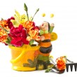 Stock Photo: Bouquet in pot with bee