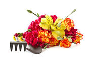 Alstroemeria and red carnations — Stock Photo