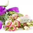Declaration of love and a bouquet of flowers lisianthus — 图库照片