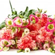 Stock Photo: Bouquet of pink carnations and lisianthus flowers