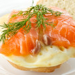 Sandwich with egg and salted salmon — Stock Photo