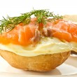 Stock Photo: Sandwich with egg and salted salmon