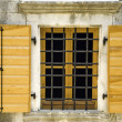 Window with shutters and grid - Stock Photo