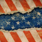Grunge ripped paper USA flag pattern — Stock Photo