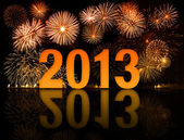 2013 new year celebration with fireworks — Stock Photo