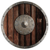 Old viking wooden shield isolated on white — Stock Photo