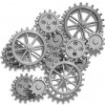 engrenagens de um relógio abstrata isoladas no branco — Foto Stock