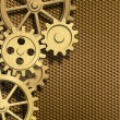 Golden clockwork gears background - Stock Photo