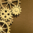 Golden clockwork gears background — Stock Photo