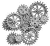 Abstract clockwork gears isolated on white — Stockfoto