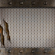Foto Stock: Metal damaged grate background