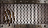 Metal damaged grate background — Stockfoto