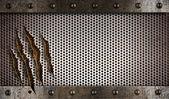 Metal damaged grate background — Stock Photo