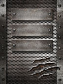 Metal damaged grate background with three plates and rivets — Stock Photo