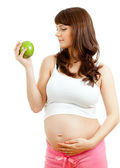 Pregnant woman eating healthy food — Stock Photo