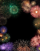 Fireworks frame with copy space in the center — Stock Photo