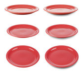Set of red round plates or dishes isloated on white with clippin — Stock Photo