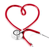 Stethoscope in shape of heart, isolated on white — Stock Photo