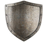 Aged metal shield isolated on white — Stock Photo