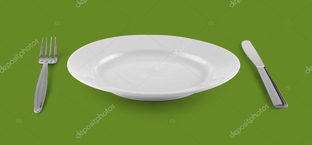 Plato vac o o un plato para comer con tenedor y cuchillo for Plato tenedor y cuchillo