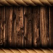 Grunge wood background or backdrop with rope frame — Stock Photo