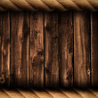 Grunge wood background or backdrop with rope frame - Stock Photo