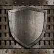 Aged metal shield on wooden medieval gates - Stock Photo