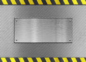 Metal plate background with hazard stripes — Foto Stock