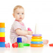 Cute little boy playing colorful toys isolated on white — Stock Photo #9345543