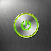 Green power button on front panel of computer — Stock Photo