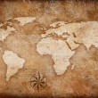 Royalty-Free Stock Photo: Grunge world map background with rose compass