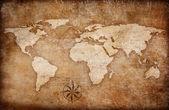 Fondo de mapa de mundo grunge con brújula rosa — Foto de Stock