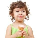 Little girl with ice cream in studio isolated — Stock Photo