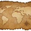 Grunge world map background with rose compass — Stock Photo