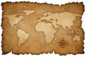Grunge world map background with rose compass — Foto Stock