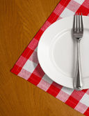 White plate and fork on wooden table with red checked tablecloth — Stock Photo