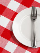 White plate and fork on table with red checked tablecloth — Stock Photo